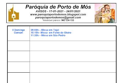 Avisos Paroquiais - 17-24 de Janeiro de 2021