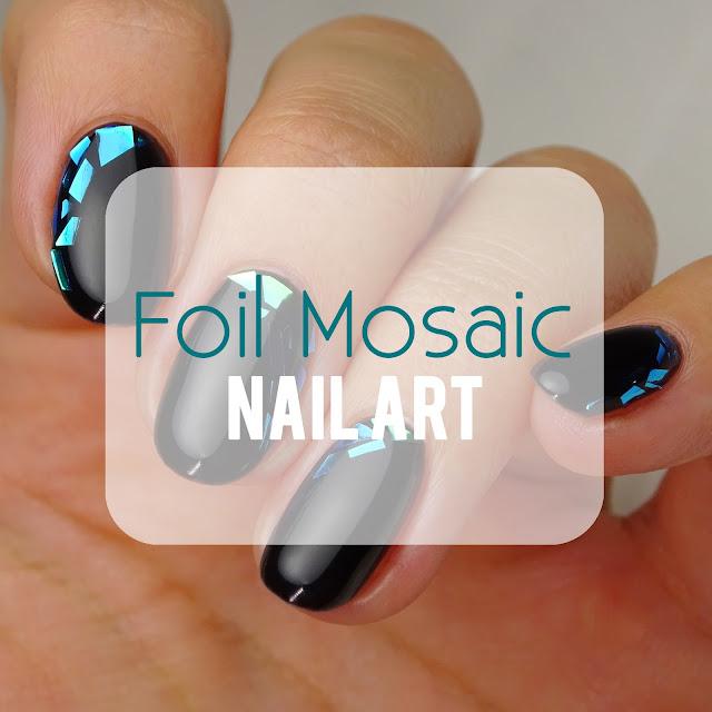 Foil Mosaic gel nail art
