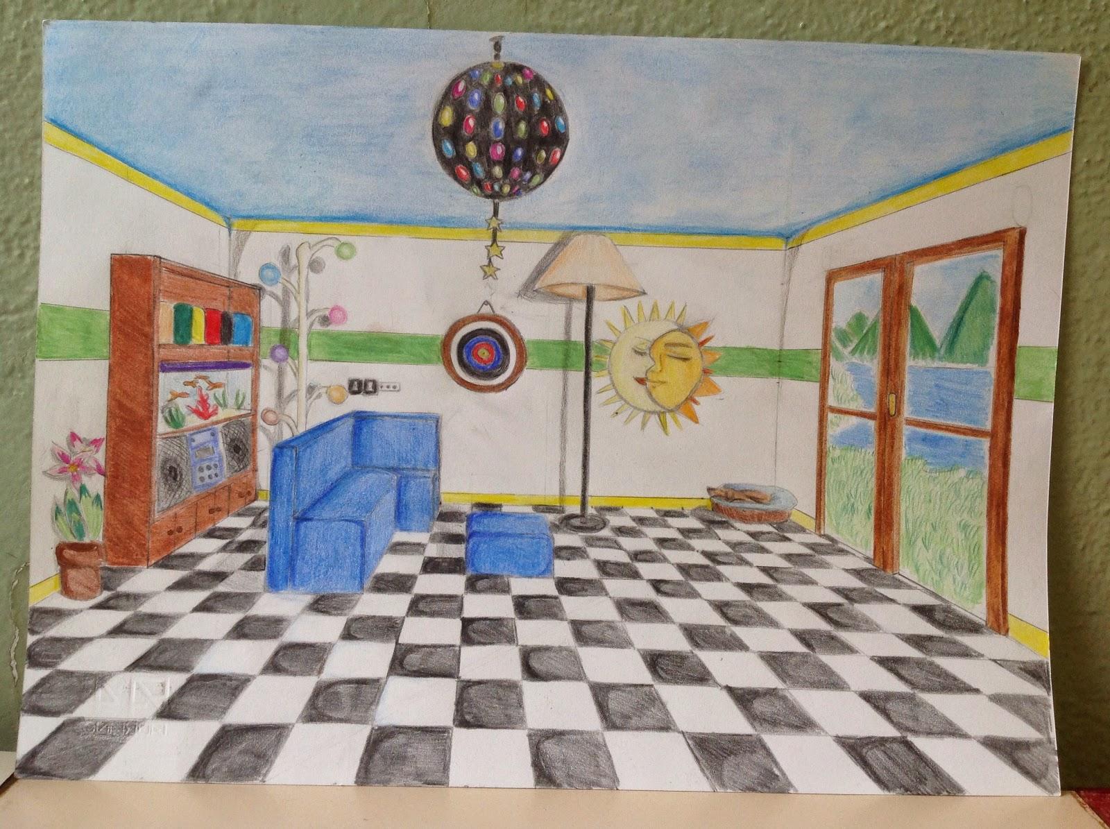 Prospettiva centrale di un interno artisticascuola for Disegno casa interno