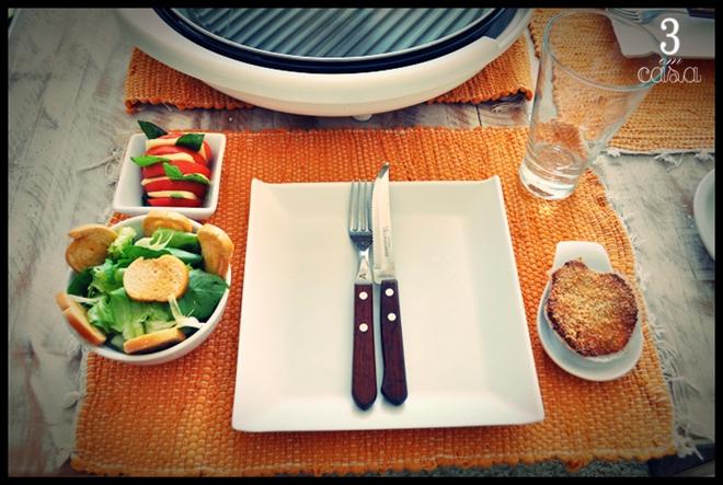 mesa posta frutos do mar salada