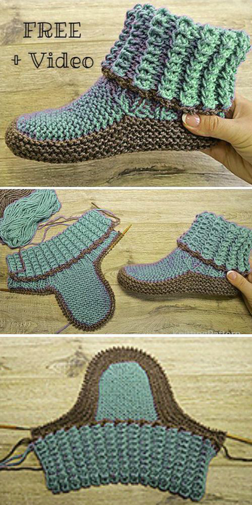 Knit Adult Ribbed Slippers - Free Knitting Pattern + Video