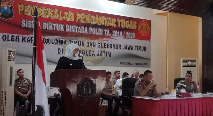 """Gubernur Jawa Timur Khofifah Indar Parawansa Hadiri Pembekalan Siswa Diktuk Bintara Polri """"Harapkan Setelah Dilantik Siswa Langsung Beradaptasi dengan Berbagai Lingkungan"""""""