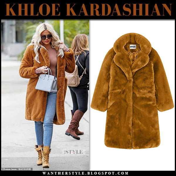 Khloe Kardashian in chestnut faux fur teddy apparis coat street style january 7