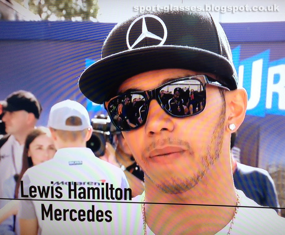 f67d2f0c4ff Lewis Hamilton wearing Emporio Armani Sunglasses at the 2014 Australian GP