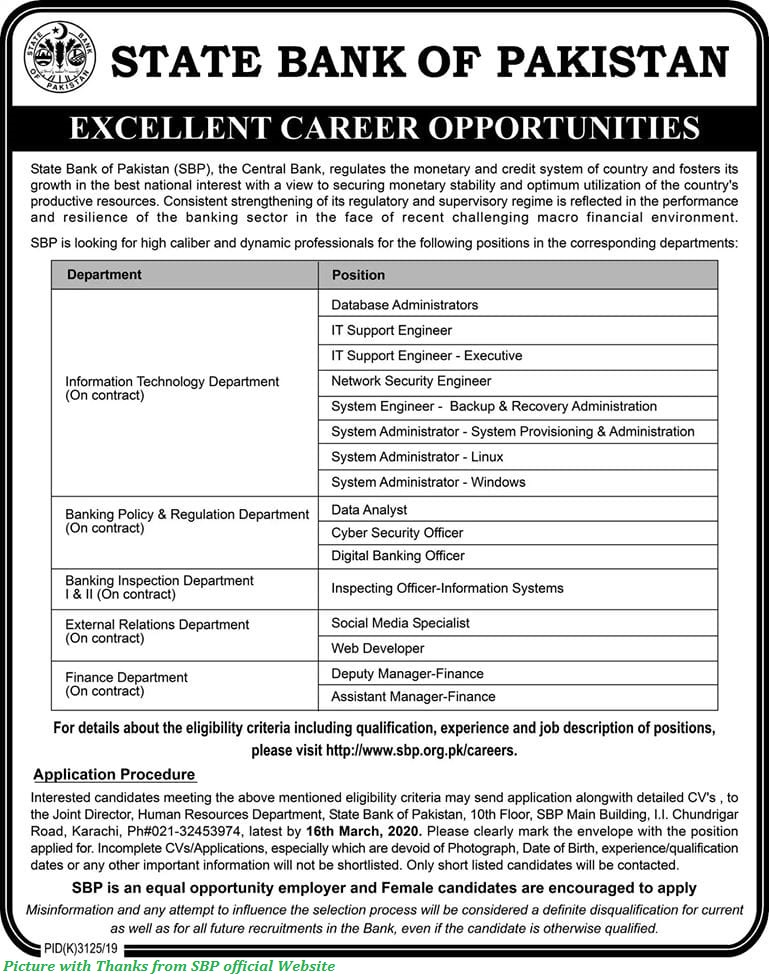 State Bank Jobs 2020 - Latest Jobs in State Bank of Pakistan 2020 for Males & Females All Over Pakistan