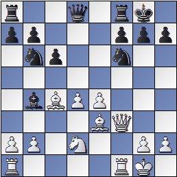 Partida de ajedrez Díez del Corral-Sanz, Lugo 1955, posición después de 13…Ab4