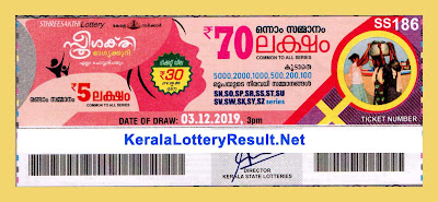 kerala Lottery Result 03.12.2019 Sthree Sakthi Lottery SS 186 (keralalotteryresult.net)