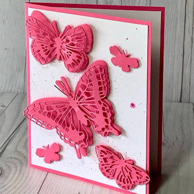 Handmade greeting card featuring die cut butterflies using the Brilliant Wings Dies from Stampin' Up!