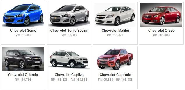 Senarai Harga Terkini Kenderaan Chevrolet Baru Di Malaysia