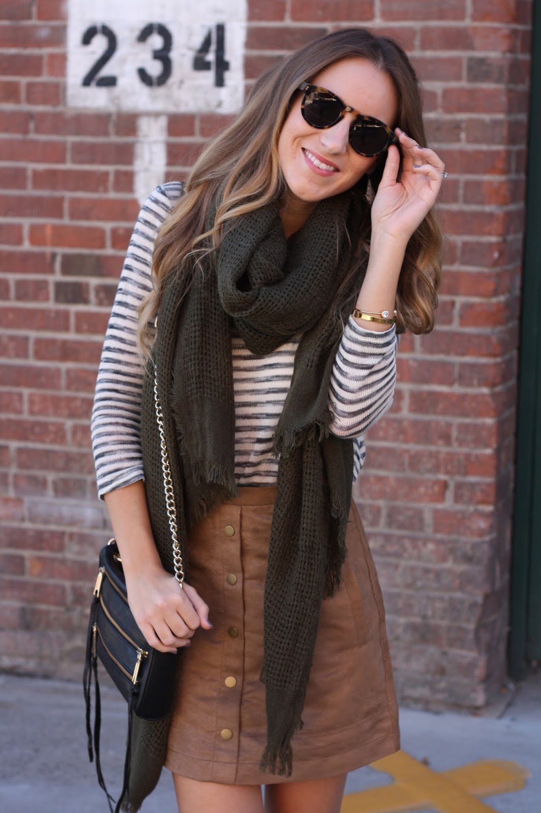 e5ee374b40ed Top: Stripe Sweater c/o Love on a Hanger // Skirt: H&M – lots of Suede  Skirt options here // Scarf: Forever 21 // Shoes: Sam Edelman 'Paige' in  Putty ...