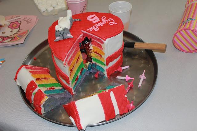 """rainbow-cake surprise garni de bonbons, thème """"Chi, une vie de chat"""""""