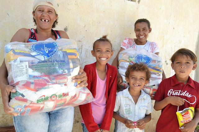 No Estado de Pernambuco, a LBV beneficiará mais de 2.030 famílias no sertão e região metropolitana com mais de 40 toneladas de alimentos.