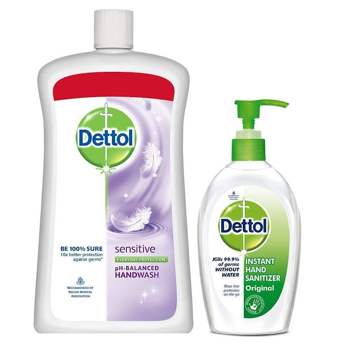 Dettol Sensitive Liquid Soap Jar - 900 ml and Dettol Sanitizer - 200 ml