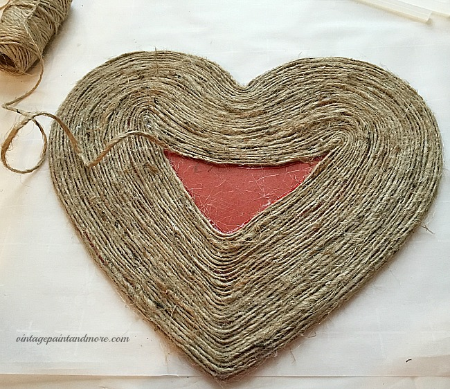 Vintage Paint and more - gluing twine on a wood heart shape