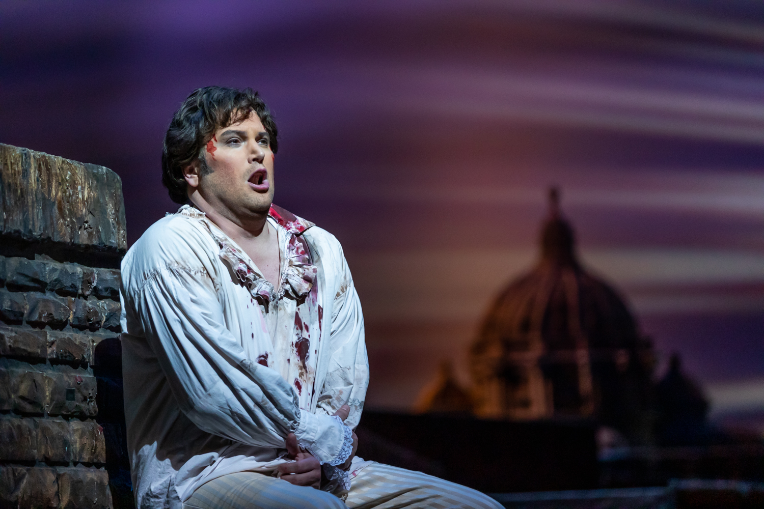 IN REVIEW: tenor SCOTT QUINN as Cavaradossi in North Carolina Opera's April 2019 production of Giacomo Puccini's TOSCA [Photograph by Eric Waters, © by North Carolina Opera]