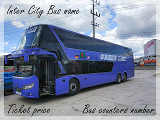 Inter city bus, Ticket price, Bus counters number