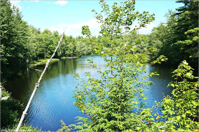 Río Contoocook a su paso por el Puente Cubierto County Bridge Hancock-Greenfield en New Hampshire