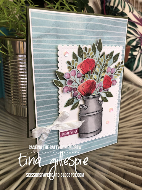 scissorspapercard, Stampin' Up!, CASEing The Catty, Country Home, Label Me Bold, Peaceful Poppies DSP, Stitched So Sweetly Dies, Stampin' Blends