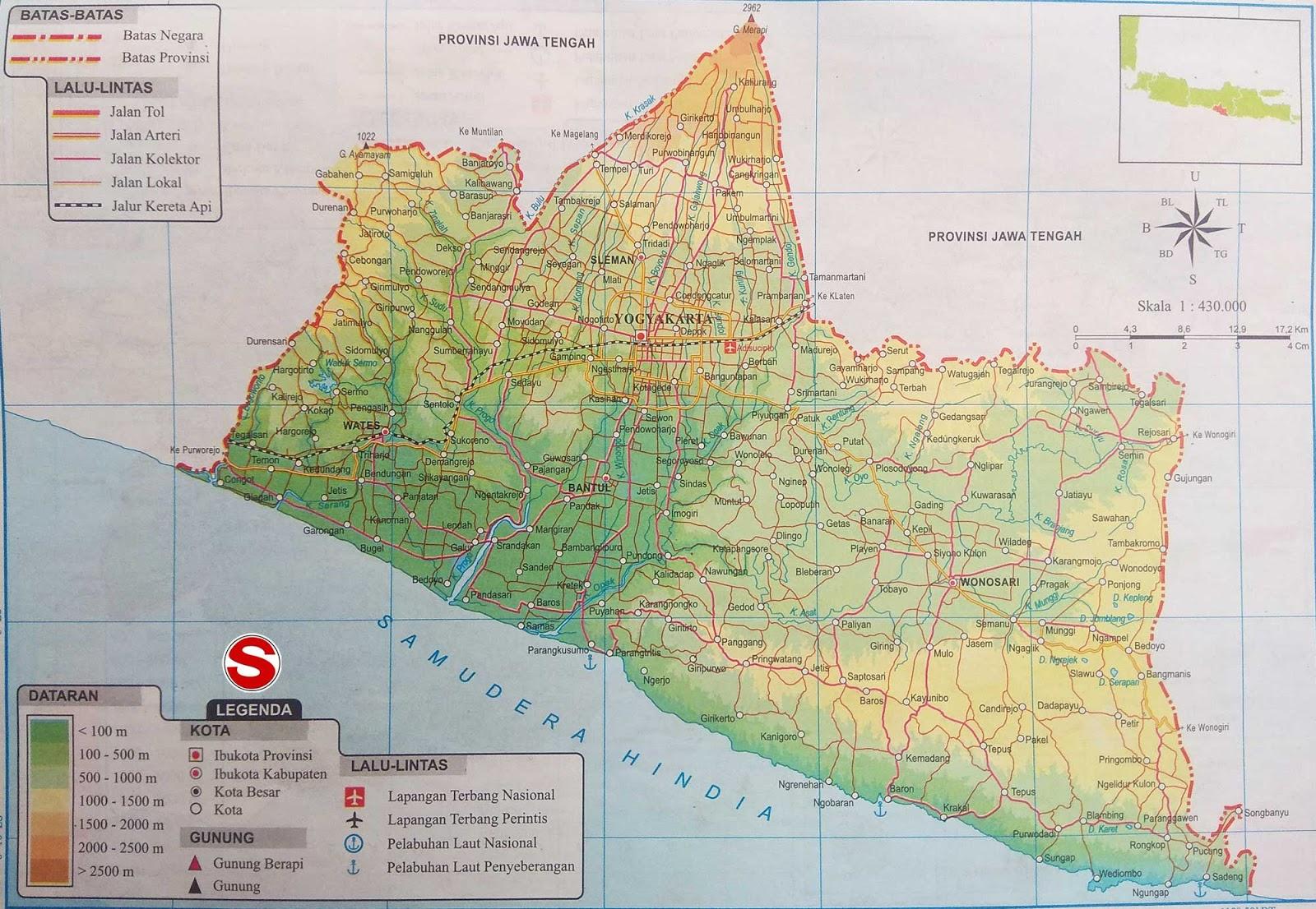 Peta dataran dan perairan sanggup anda lihat pada kotak LEGENDA berupa angka yang tertera Peta Atlas Daerah spesial Yogyakarta (DIY)