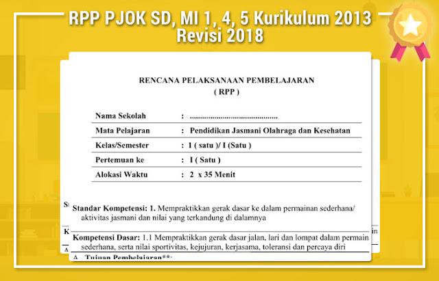 RPP PJOK SD, MI 1, 4, 5 Kurikulum 2013 Revisi 2018