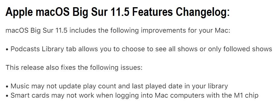 macOS Big Sur 11.5 Features