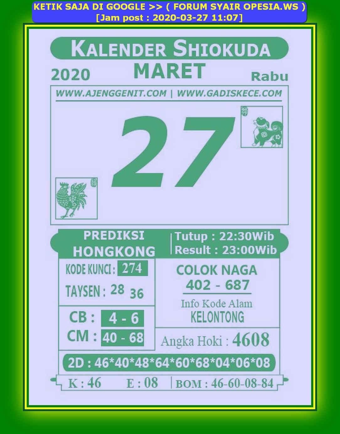Kode syair Hongkong Jumat 27 Maret 2020 146