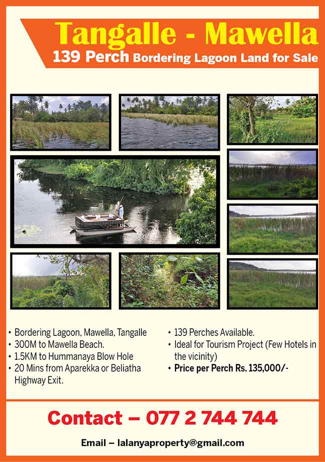Tangalle - 139 Perch Bordering Lagoon Land For sale