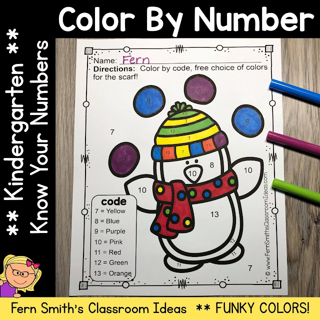 Winter Funky Penguins Color By Number Kindergarten Know Your Numbers Printables for Your Kindergarten Class #FernSmithsClassroomIdeas