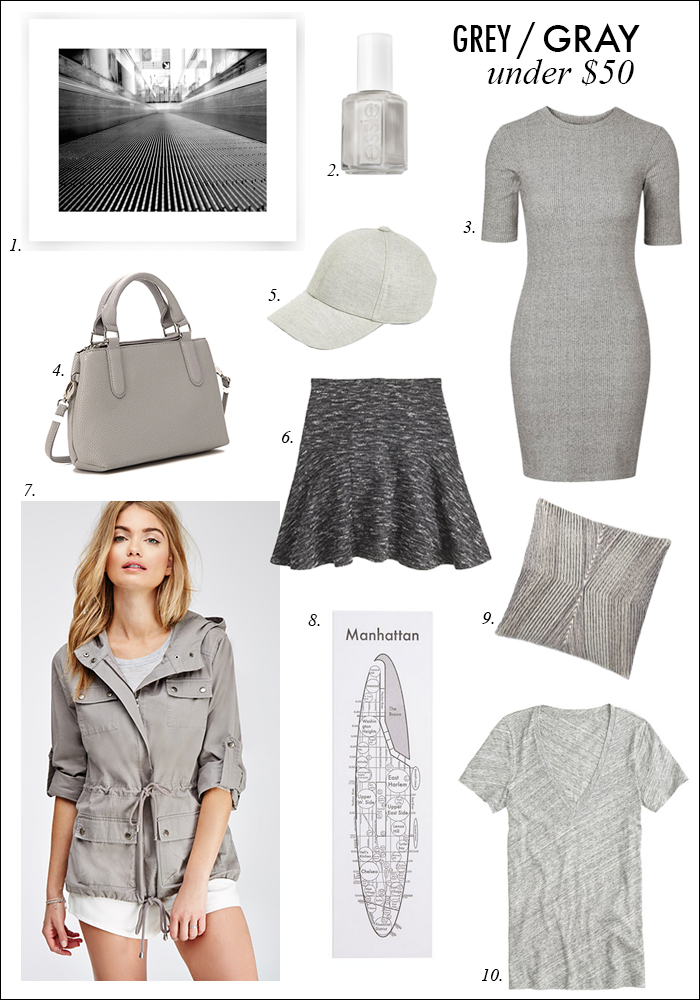 under $50 deals, sales J. Crew, Forever 21, utility jacket, gray, grey, body con dress, skater skirt, manhattan print