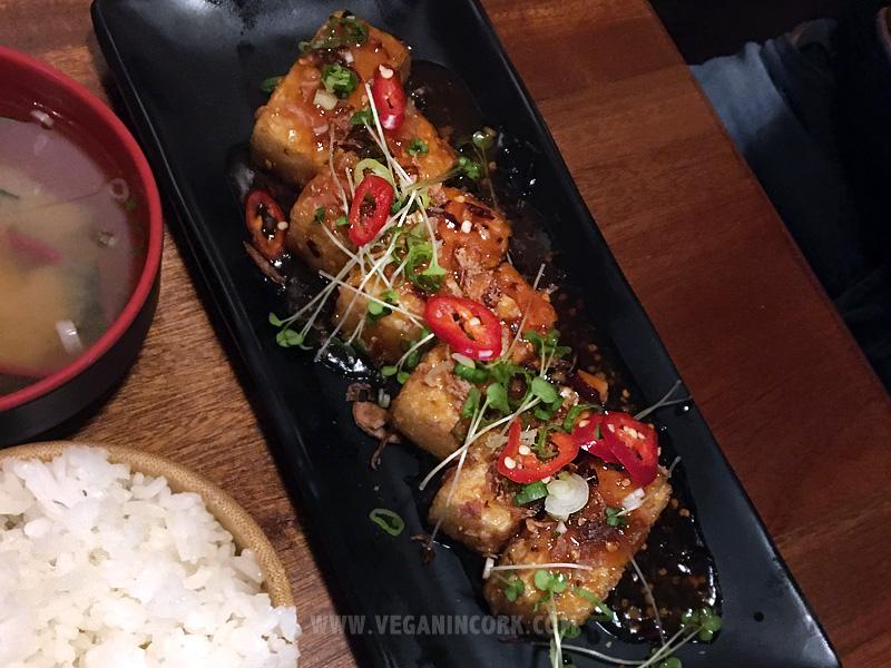 Spicy tofu teriyaki glaze Sakura Japanese Restaurant Cork