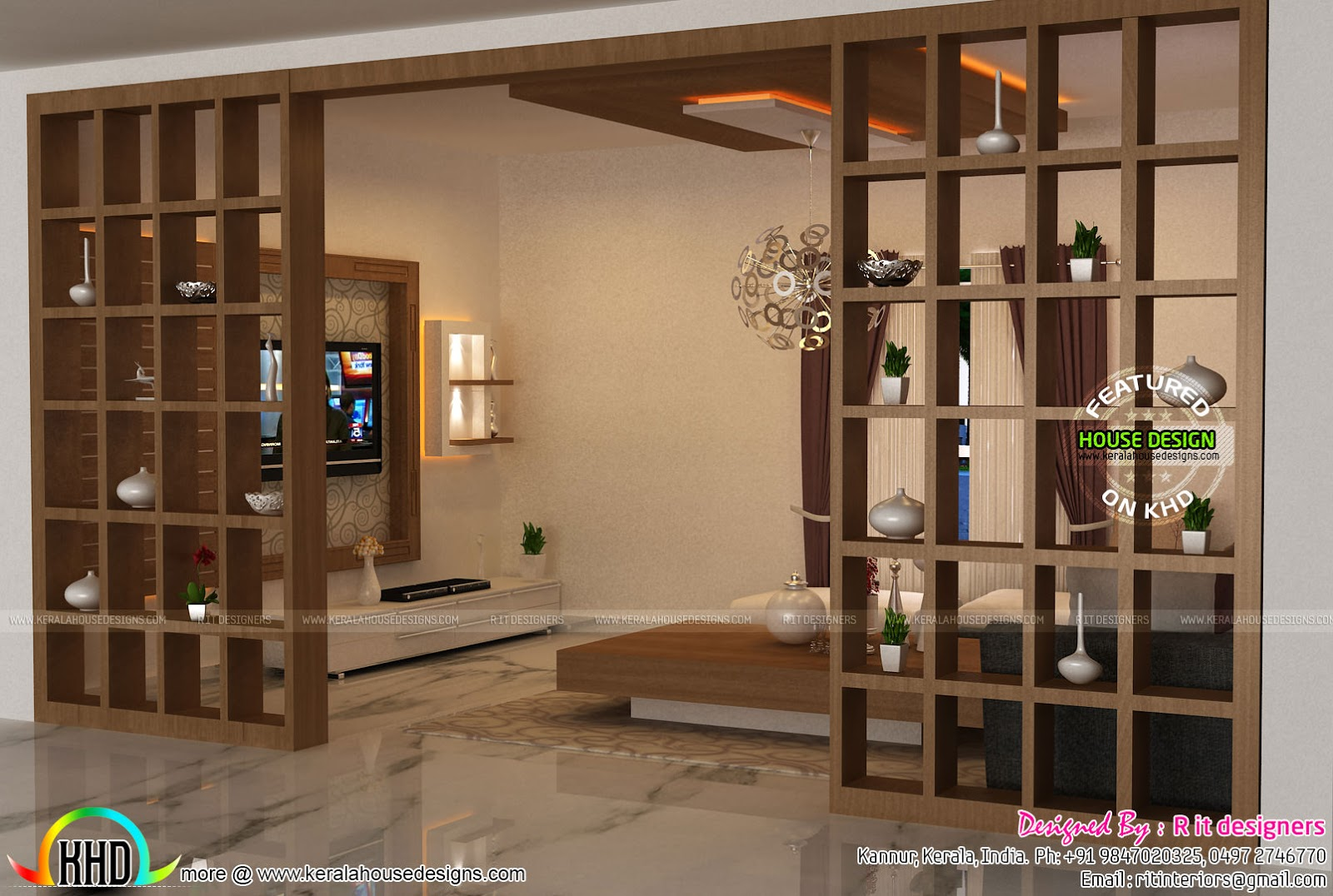 Foyer Plan Kerala : Living foyer under stair interiors kerala home design