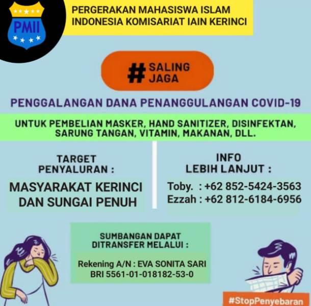 PMII Komisariat IAIN Kerinci Giat Sosial Peduli akan Covid-19