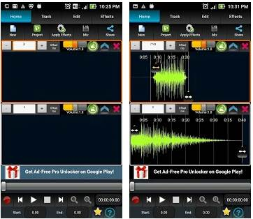 Aplikasi Edit Lagu Android AudioDroid : Audio Mix Studio