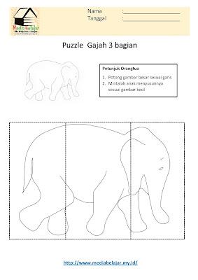 Lembar Kerja Paud Puzzle Gajah 3 Bagian