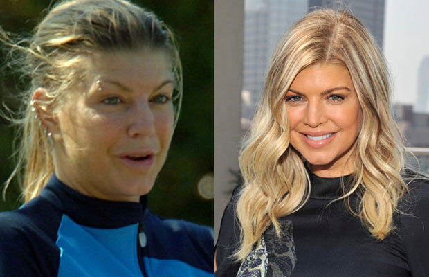 Fergie with n without makeup
