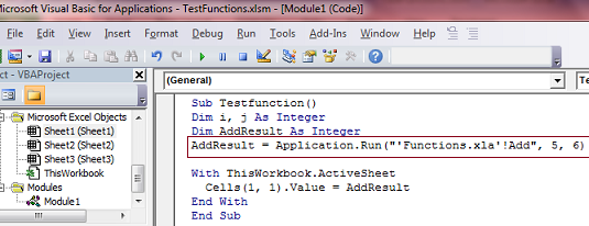 VBA: How To Call  Xla Functions In To  Xlsm Excel File