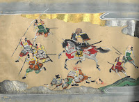 A painting of Japanese samura on foot and horseback from within the Nara Ehon, including a decapitated warrior.