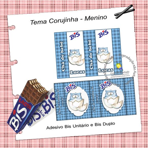 chocolate bis personalizado tema coruja para meninos