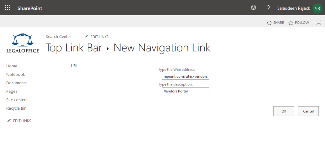 how to add a link to top navigation bar in sharepoint online