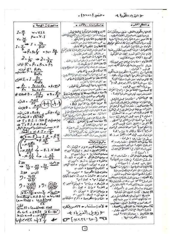 ملخص مراجعة الفيزياء للصف الثالث الثانوي في 10 ورقات 2