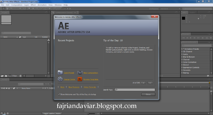 Screenshot Adobe After Effect CS4