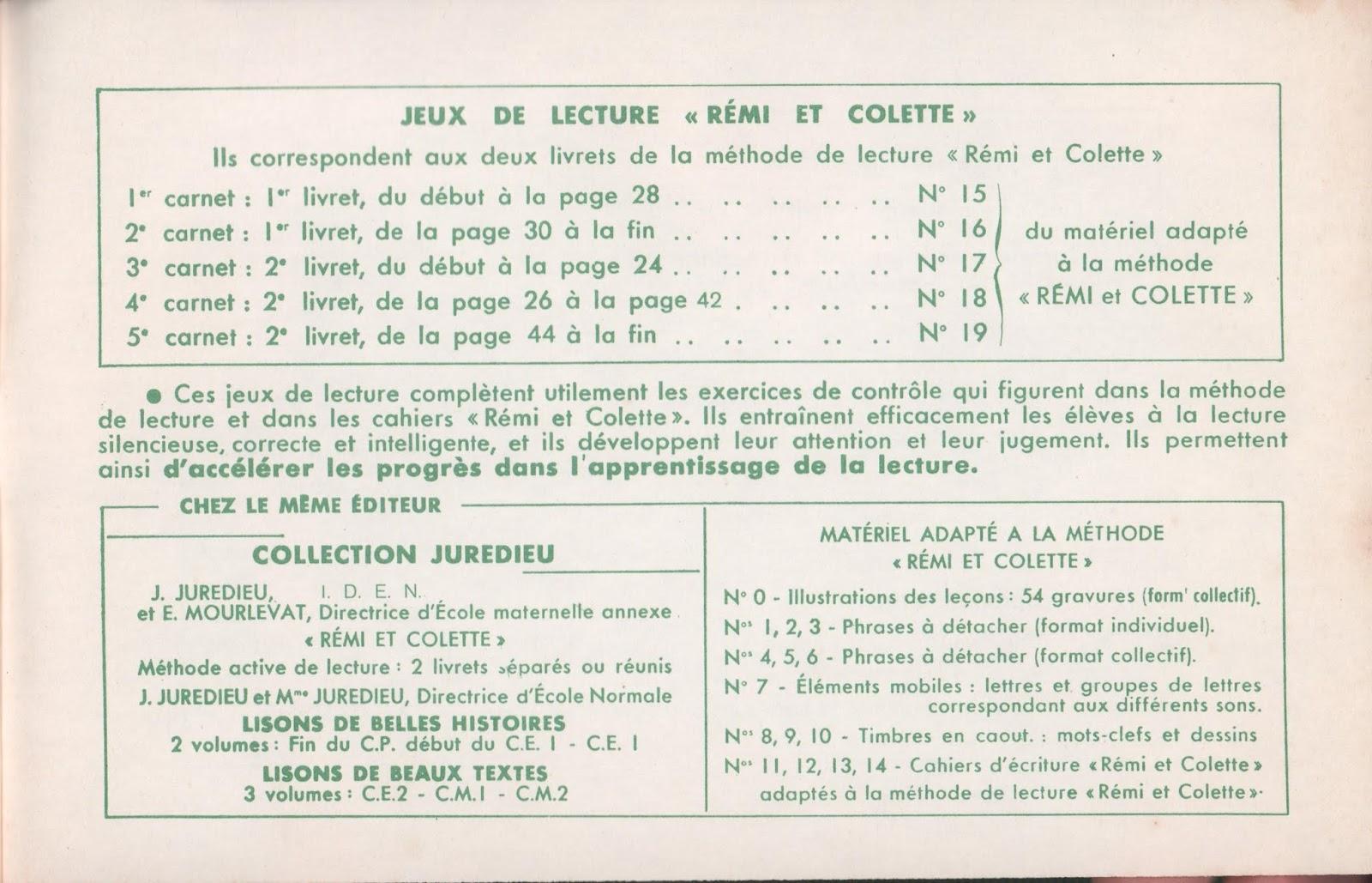 Souvent Manuels anciens: Juredieu, Mourlevat, Roy, Rémi et Colette, jeux  PH59