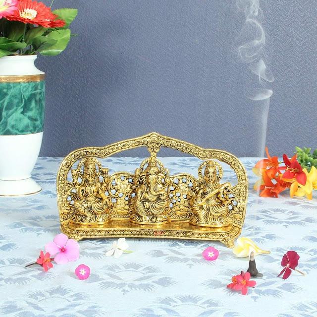 Laxmi-Ganesh-Saraswati-Idol-Showpiece-Metal-Statue