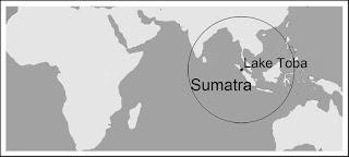 Map location of Sumatra and Lake Toba