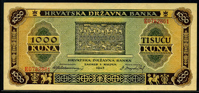 Croatia paper money currency 1000 Croatian Kuna banknotes notes images