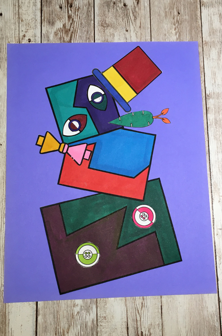 Snowman art for kids inspired by Picasso