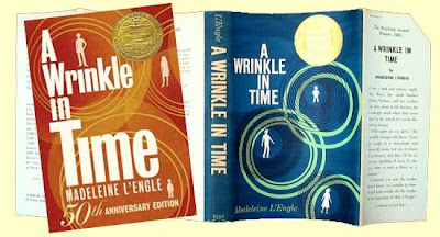 Original and 2012 covers of A Wrinkle in Time, one blue, one orange, both with circles