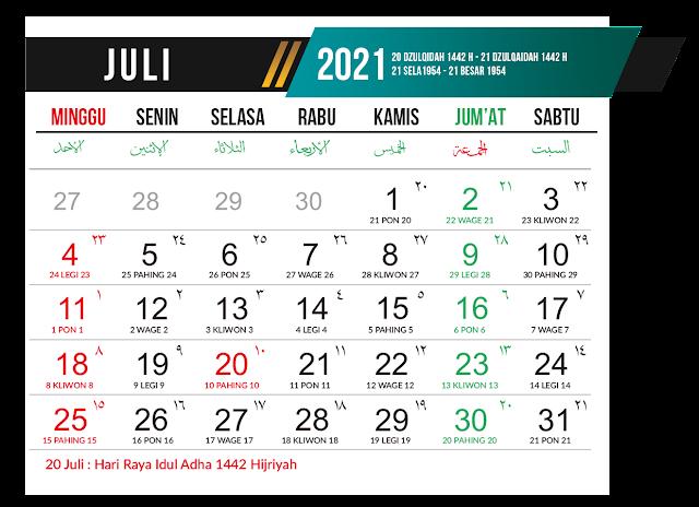 Preview Desain Template Kalender 2021 Bulan Juli