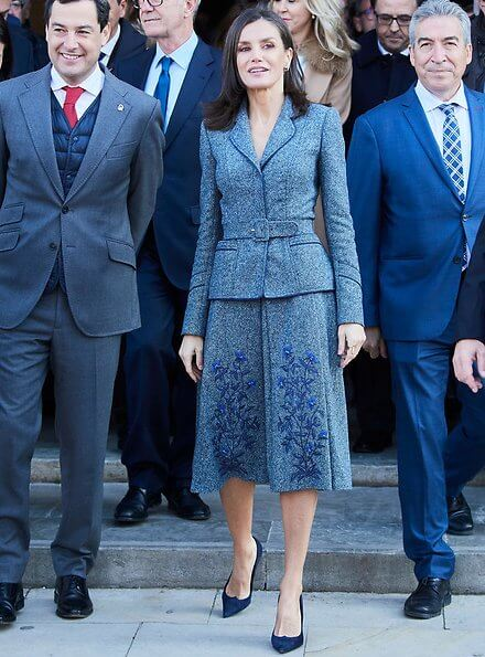 Andalusian Legacy Foundation and Benjelloun-Mezian Foundation. Queen Letizia wore an outfit by Felipe Varela