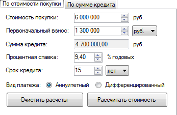 Рассчитать сумму взносов кредита